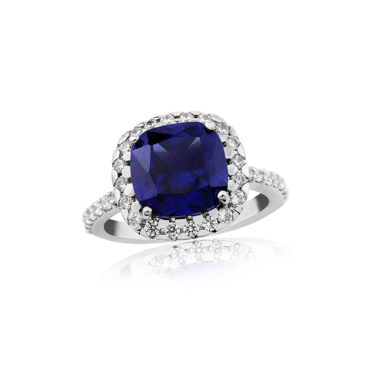 Sapphire Cushion with Cubic Zirconia Ring – Extra Large