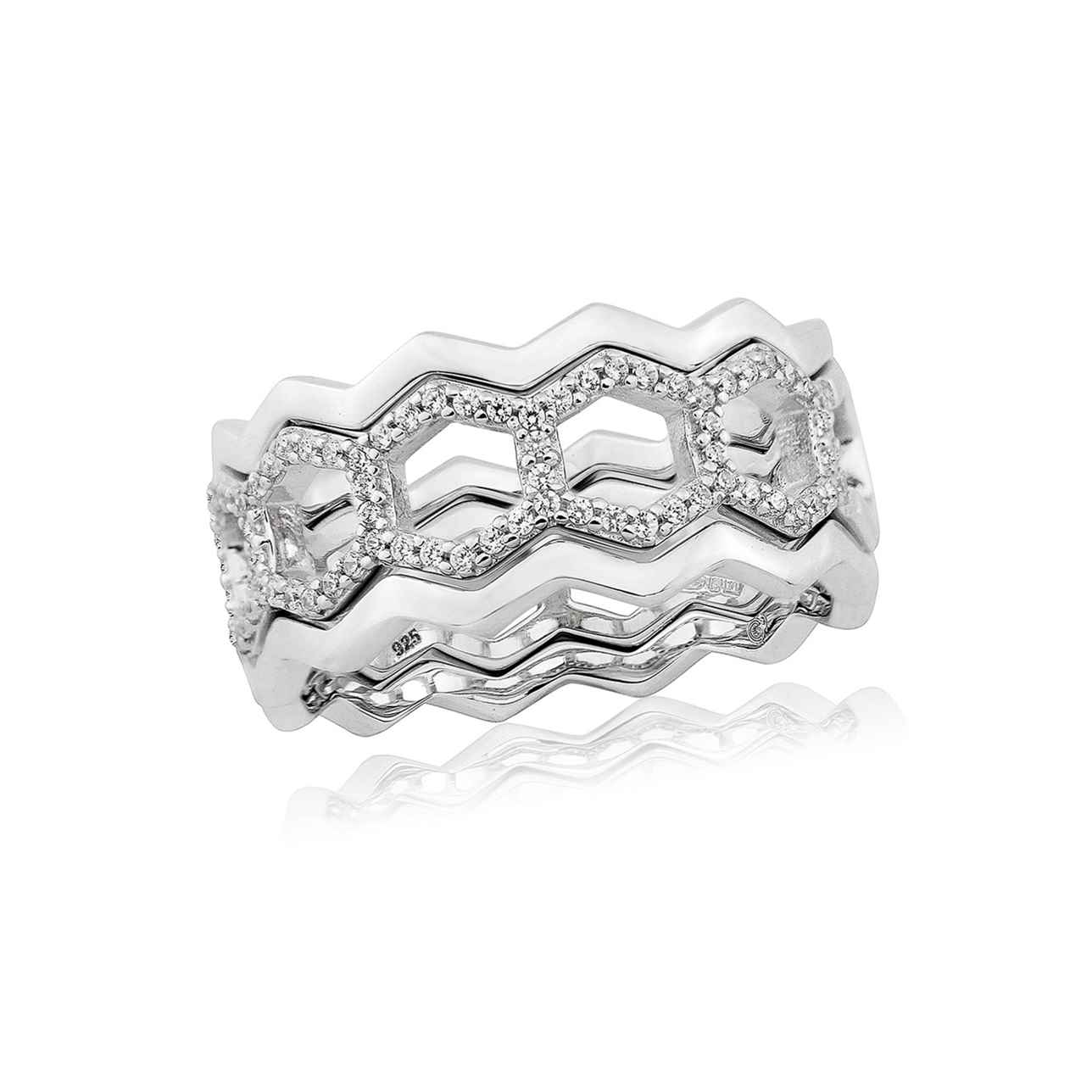 Sterling Silver Open 3 Band Hexagon Ring – Large