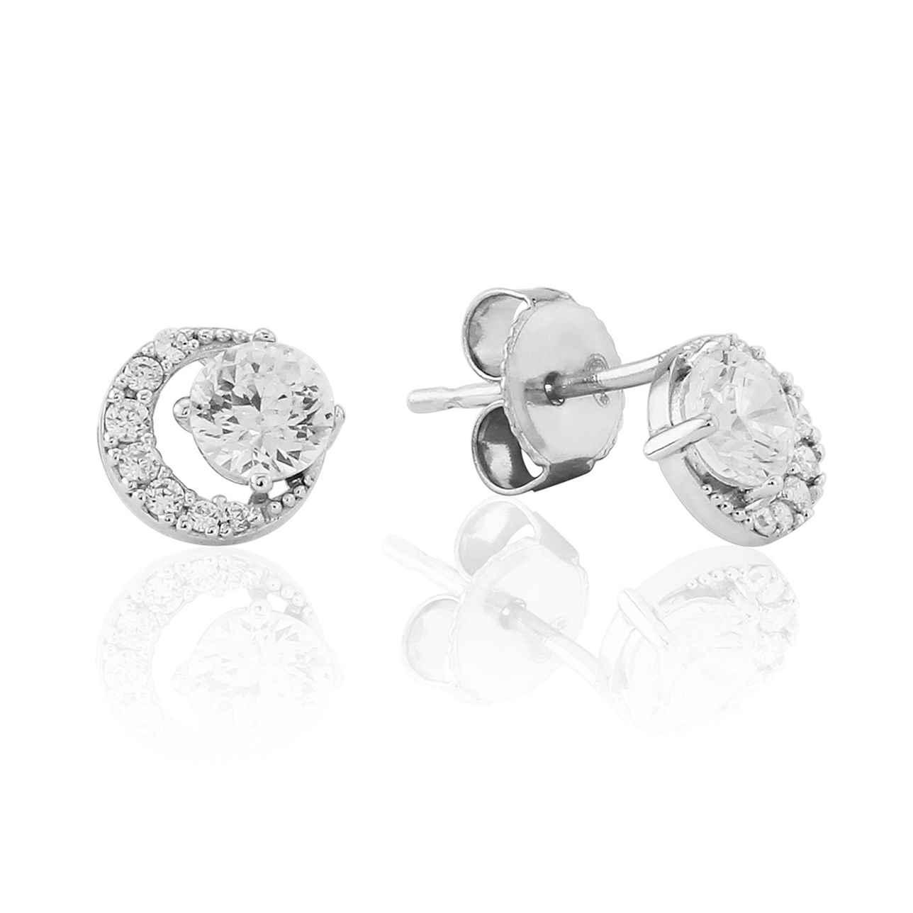 Open Circle Cluster Stud Earrings