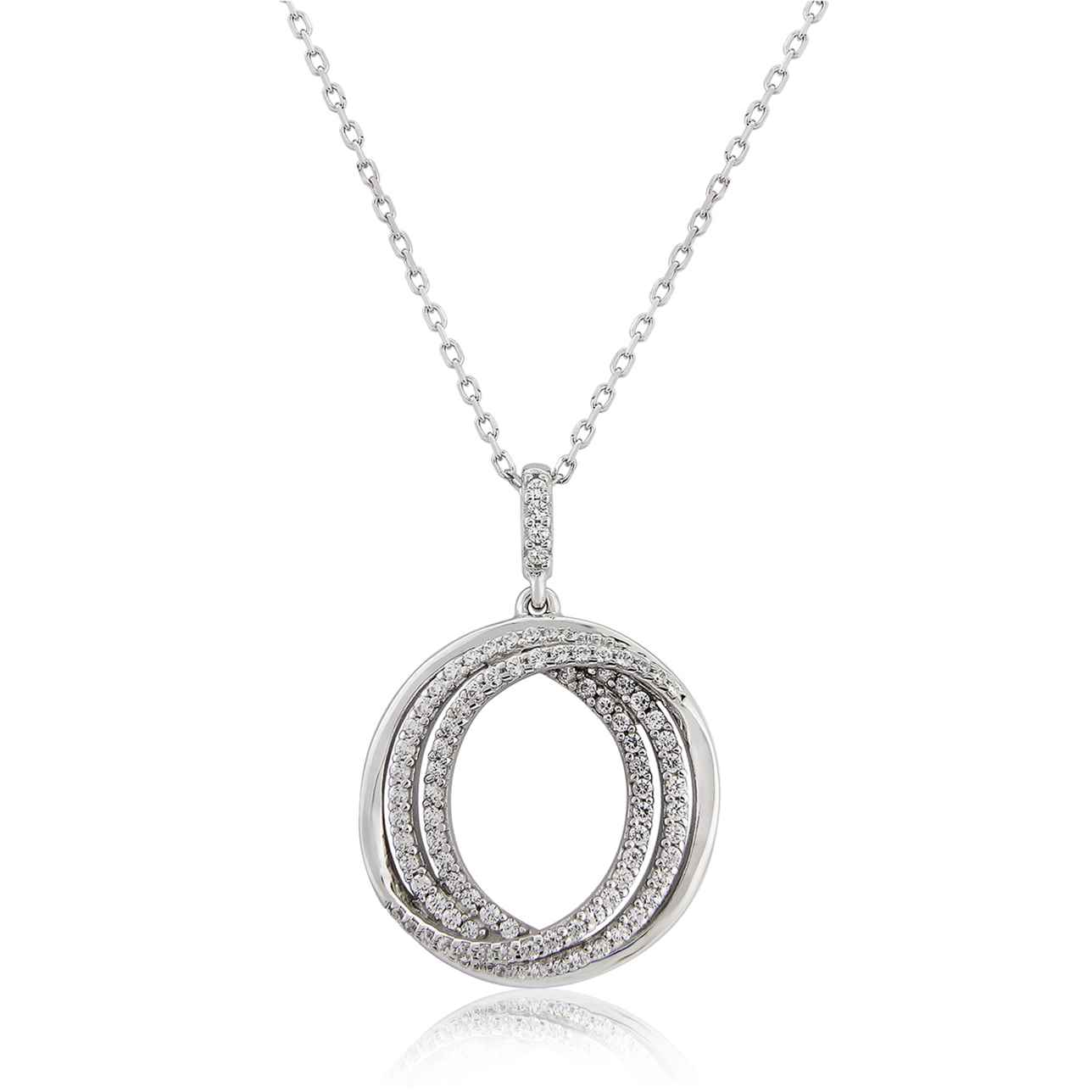 Sterling Silver Triple Circle Open Center Pendant