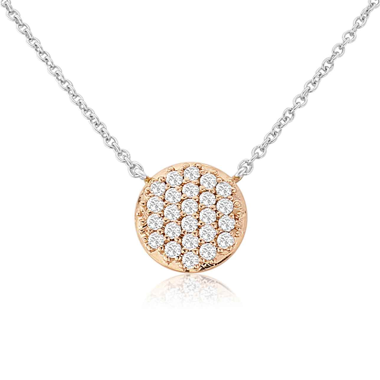 Small Rose Circle Pendant with Multi Cubic Zirconia Discs