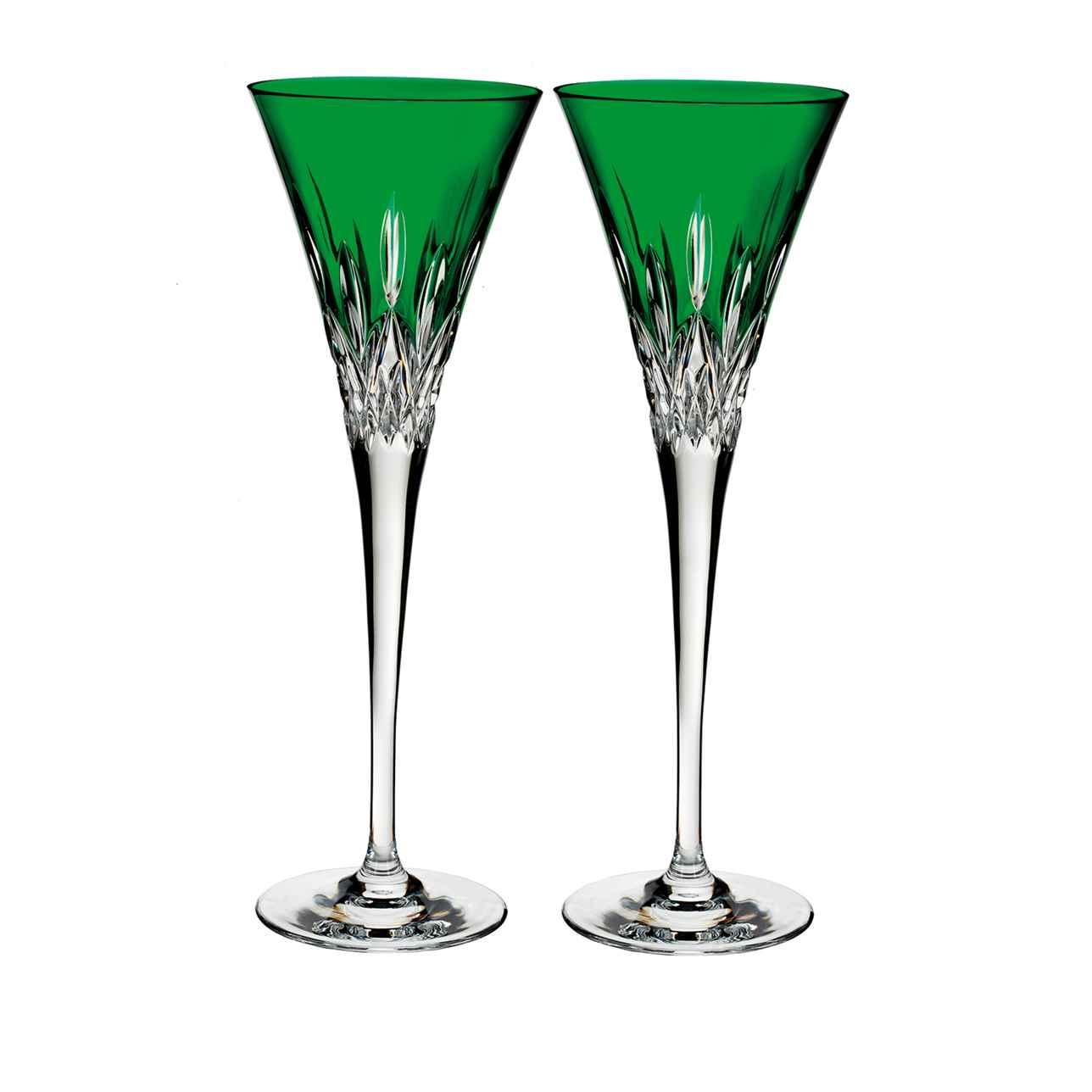 Lismore Pops Emerald Toasting Flute, Set of 2
