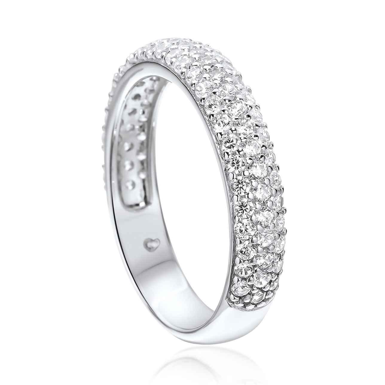 Silver Multi Stone Set Rounded Eternity Band Ring – Medium