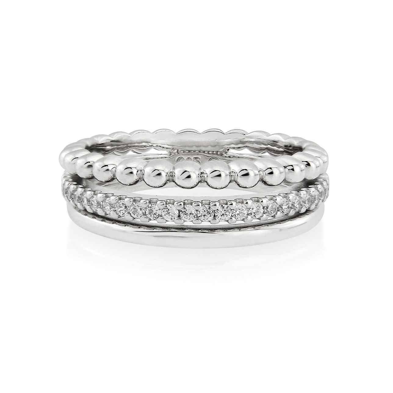 Sterling Silver Triple Band Ring with Stone Set (in White Rhodium Finish) – Medium