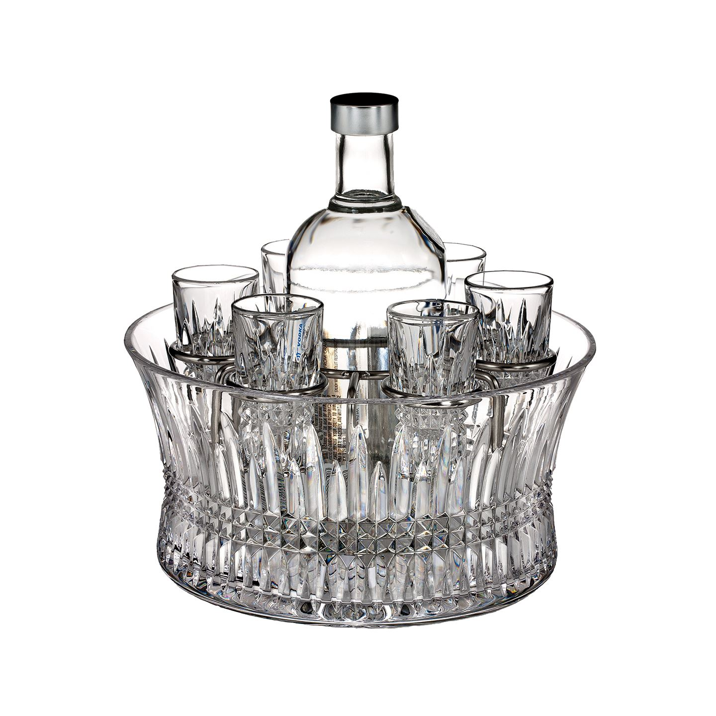 Waterford Lismore Diamond Vodka Set with Chill Bowl, Shot Glasses & Silver Insert | Lead Crystal