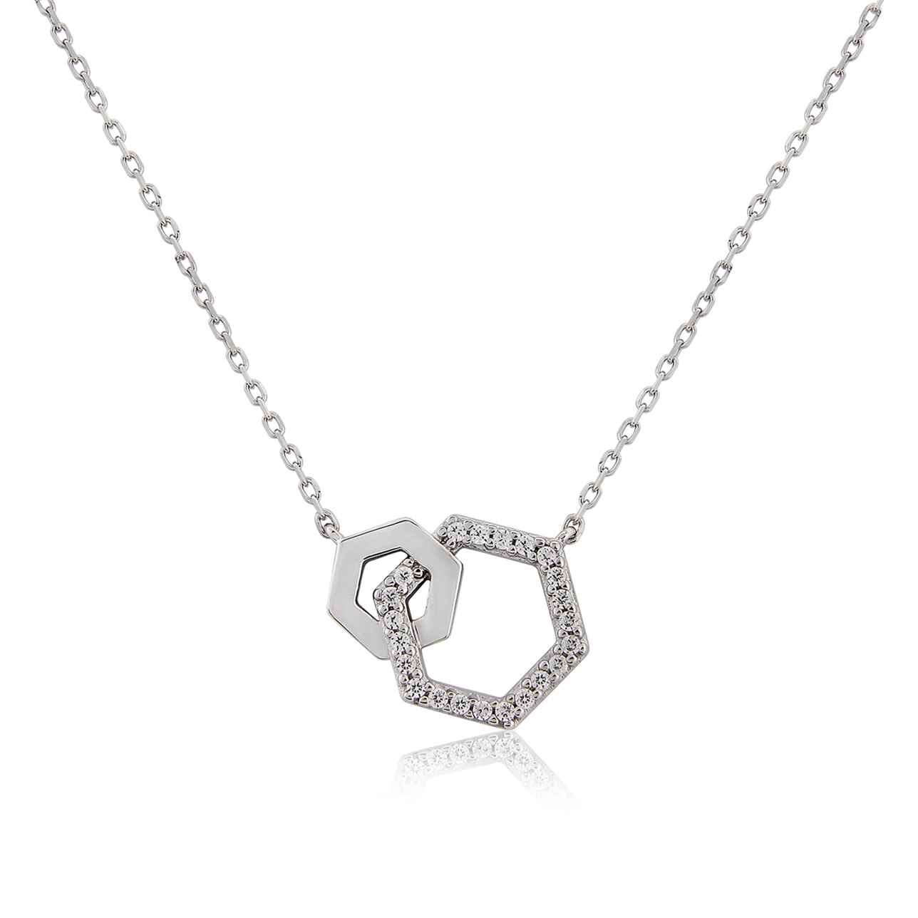 Sterling Silver Double Hexagon Pendant
