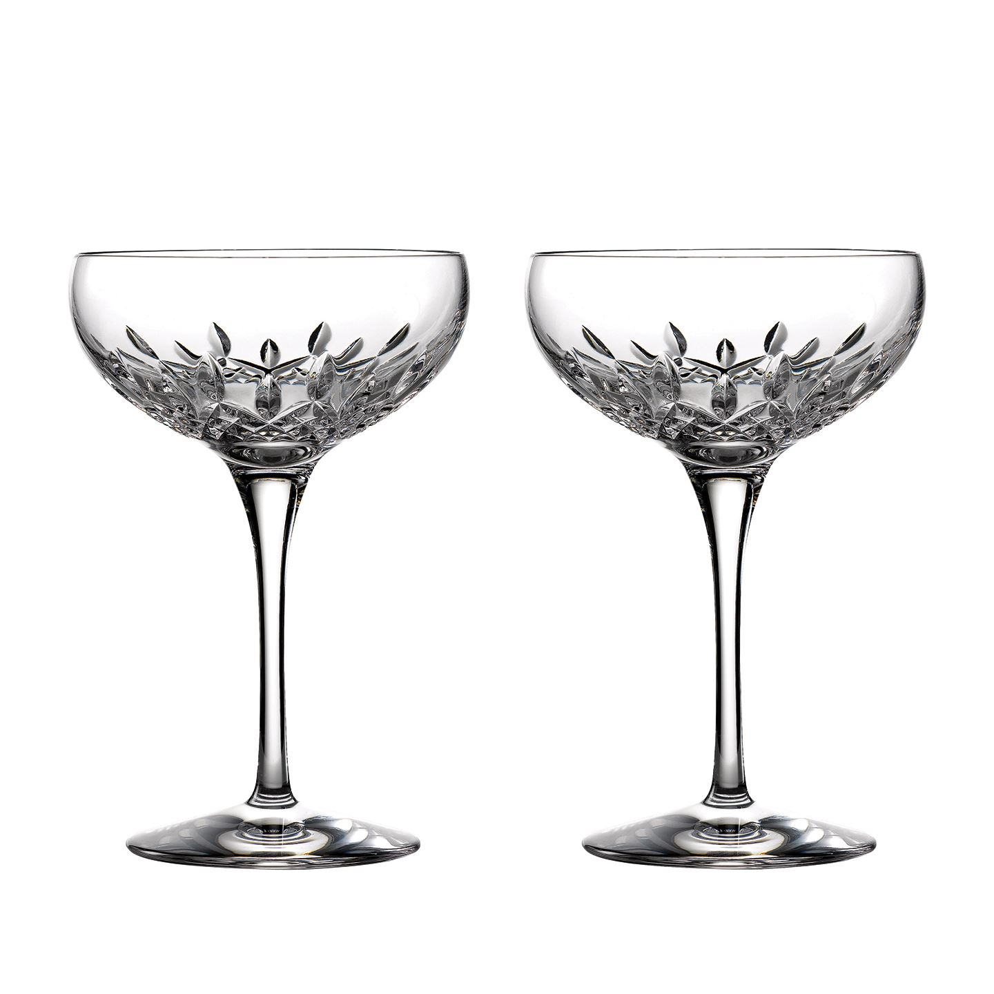 Waterford Lismore Essence Champagne Saucer | Set of 2 Champagne Flute Glass | Lead Crystal