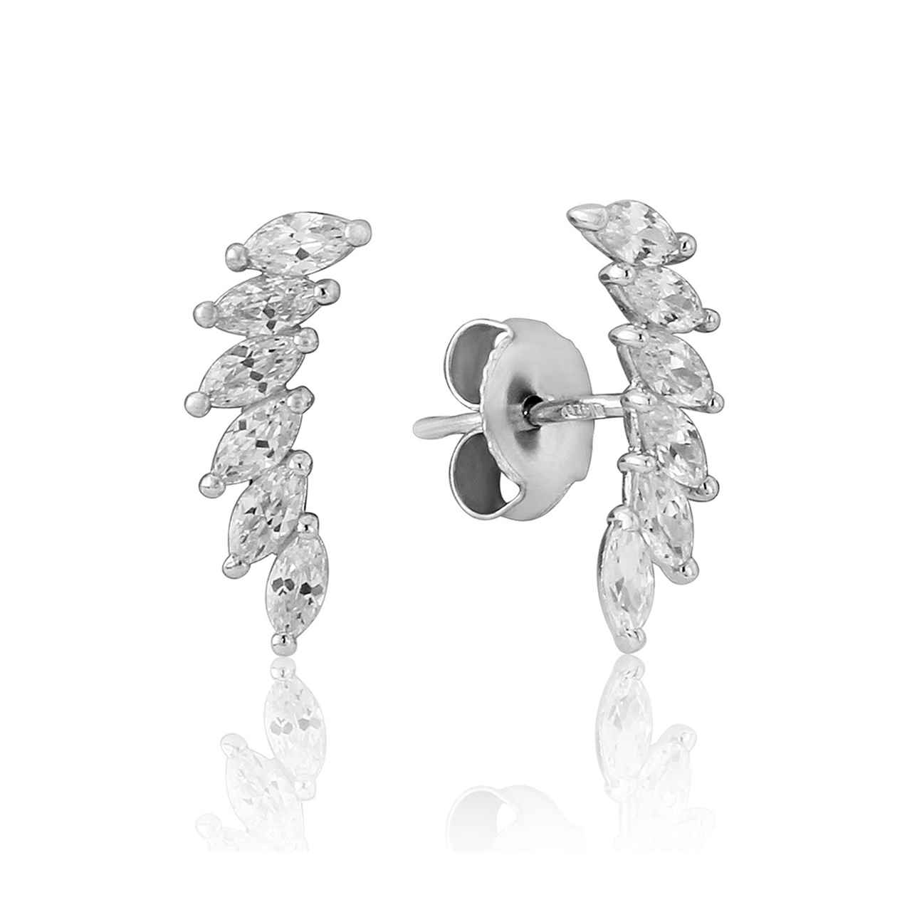 White Curved Cubic Zirconia Stem Earrings